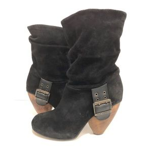 FLY LONDON Suede Slouch Boots Buckle Chubby Heel 8
